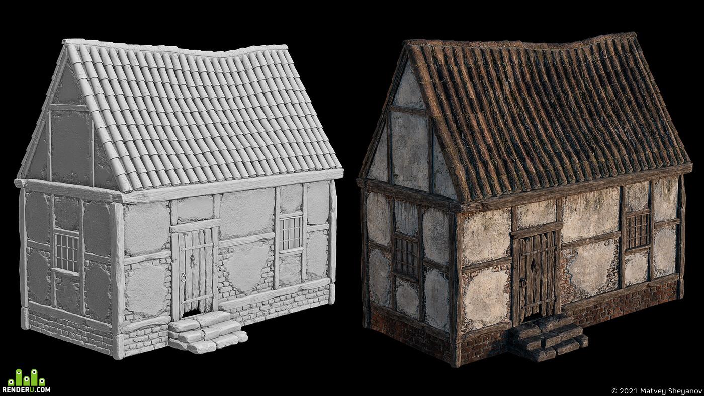 fantasy, home, medieval, dirt, sculpt, Old, environment, photorealism, lighting, swamp