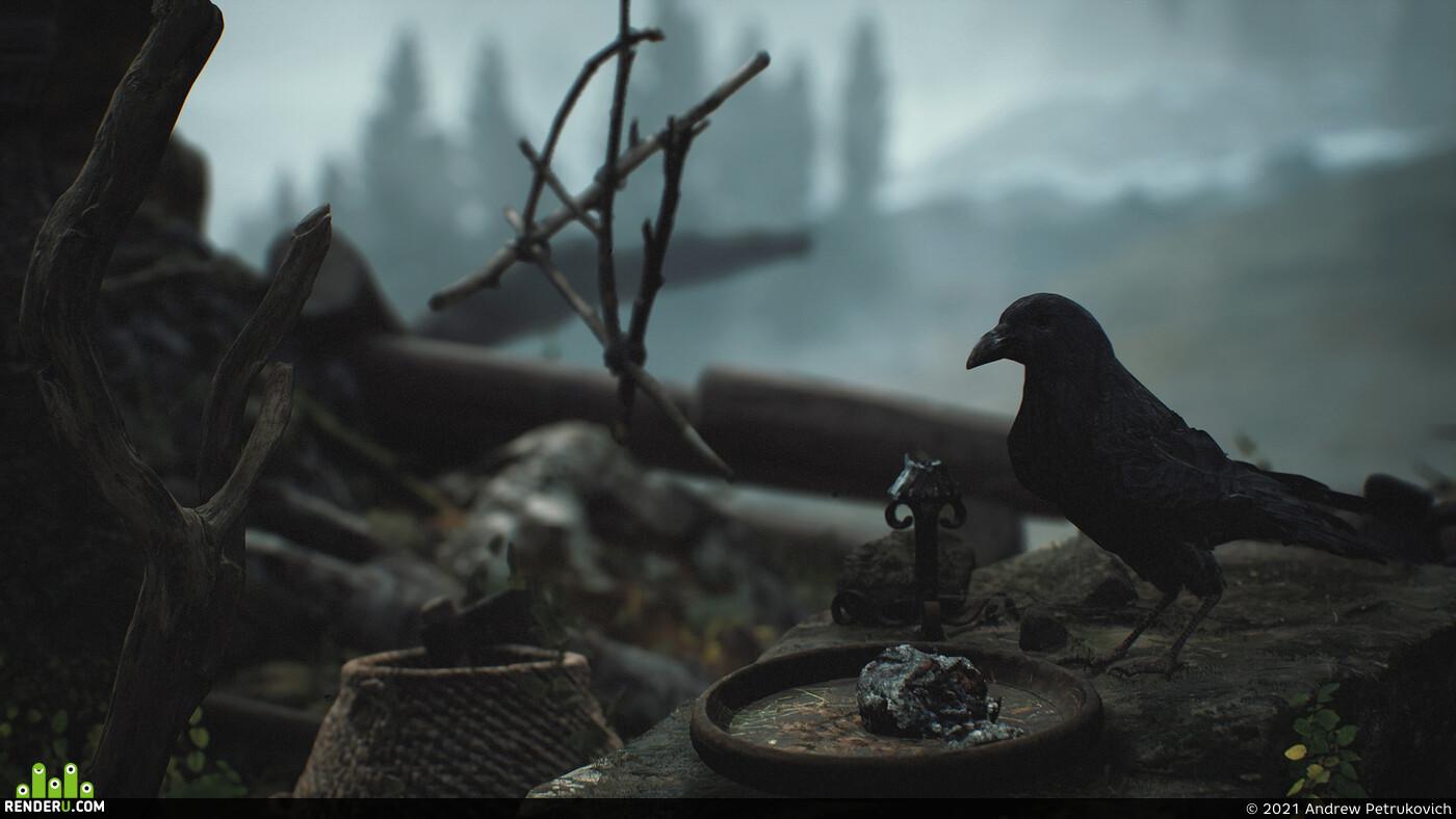 diablo 4, cinematic, церковь, ворон, туман, деревня
