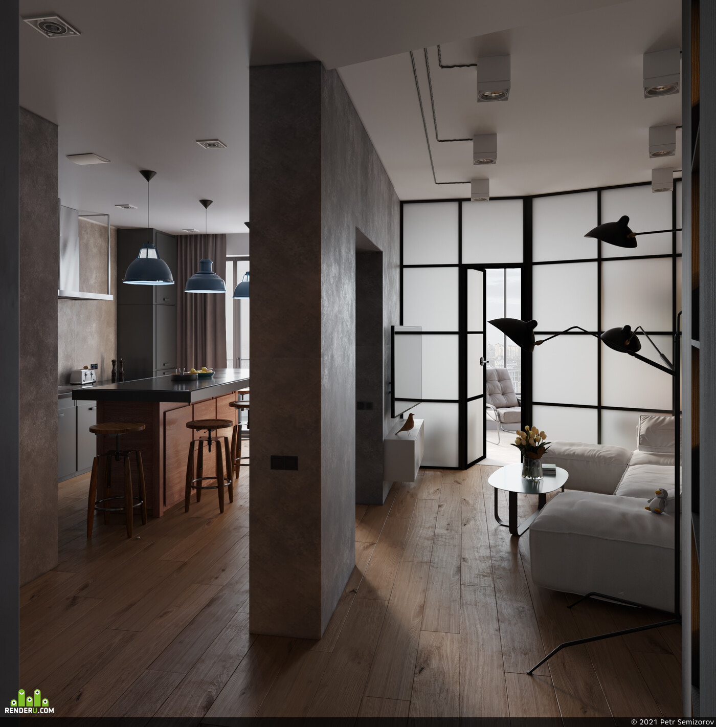 interiordesign, loft Interior, 3ds Max, 3D Architecture, Adobe Photoshop