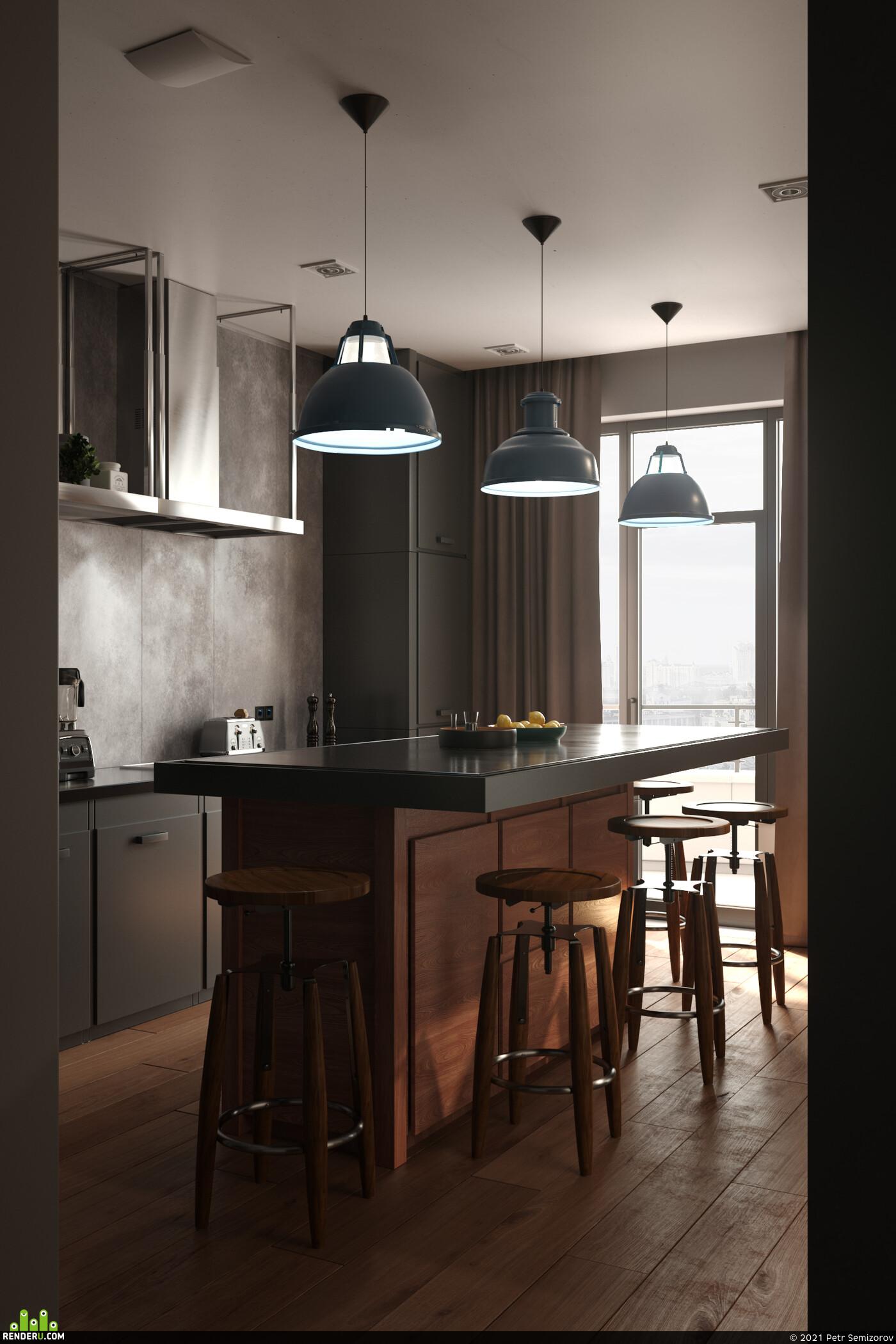 interior, Minimalist Loft, interior loft, 3D архитектура, 3ds Max, coronarender, Photoshop, loftstyle, loftkitchen