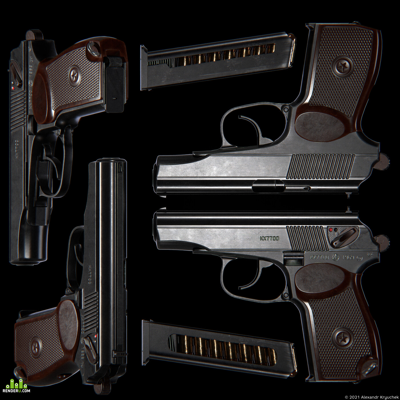 weapon, Weapons, pistol, pbr materials, military, game ready