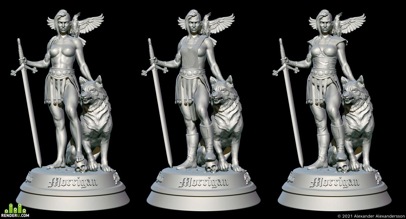 idol, Statuette, goddess, irish mythology, mythology, goddess of war, female anatomy, Wolf D. Prix, models for CNC, 3D Printing