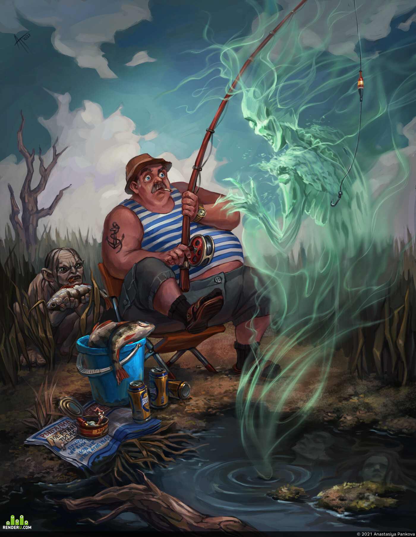 толкиен, Властелин колец, фанарт, Голлум, рыбак, рыбалка, иллюстрация, 2d