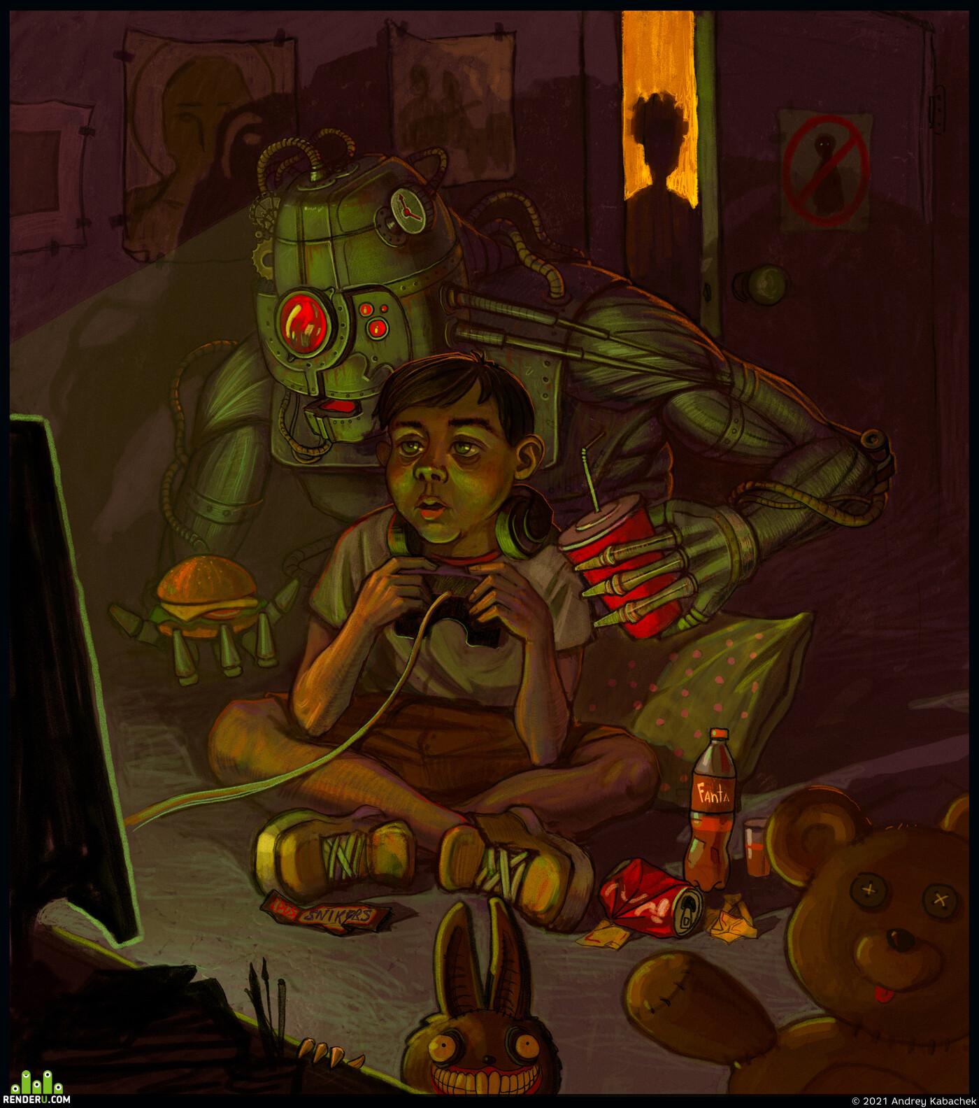 помощник, Роботы, Персонажи, иллюсрация