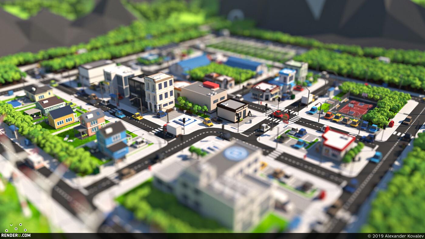 cgi, blender, city, Cartoon, Exterior, gamedev, gameart, car, house, road