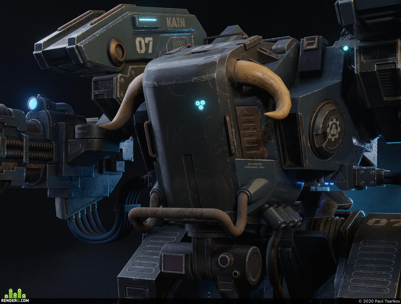 blender, Mecha, Hard Surface, Robots., Warhammer 40k, adeptus mechanicus, kaino, volkite weapon