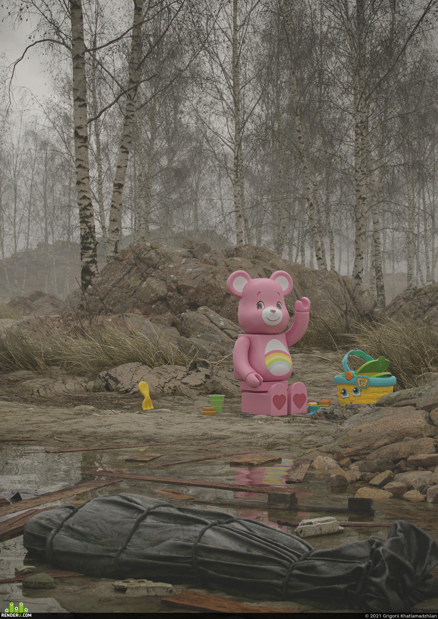 3d toys, forest, QuixelMegascans, coronarenderer, Mistic, Fog, stone rock, envairoment