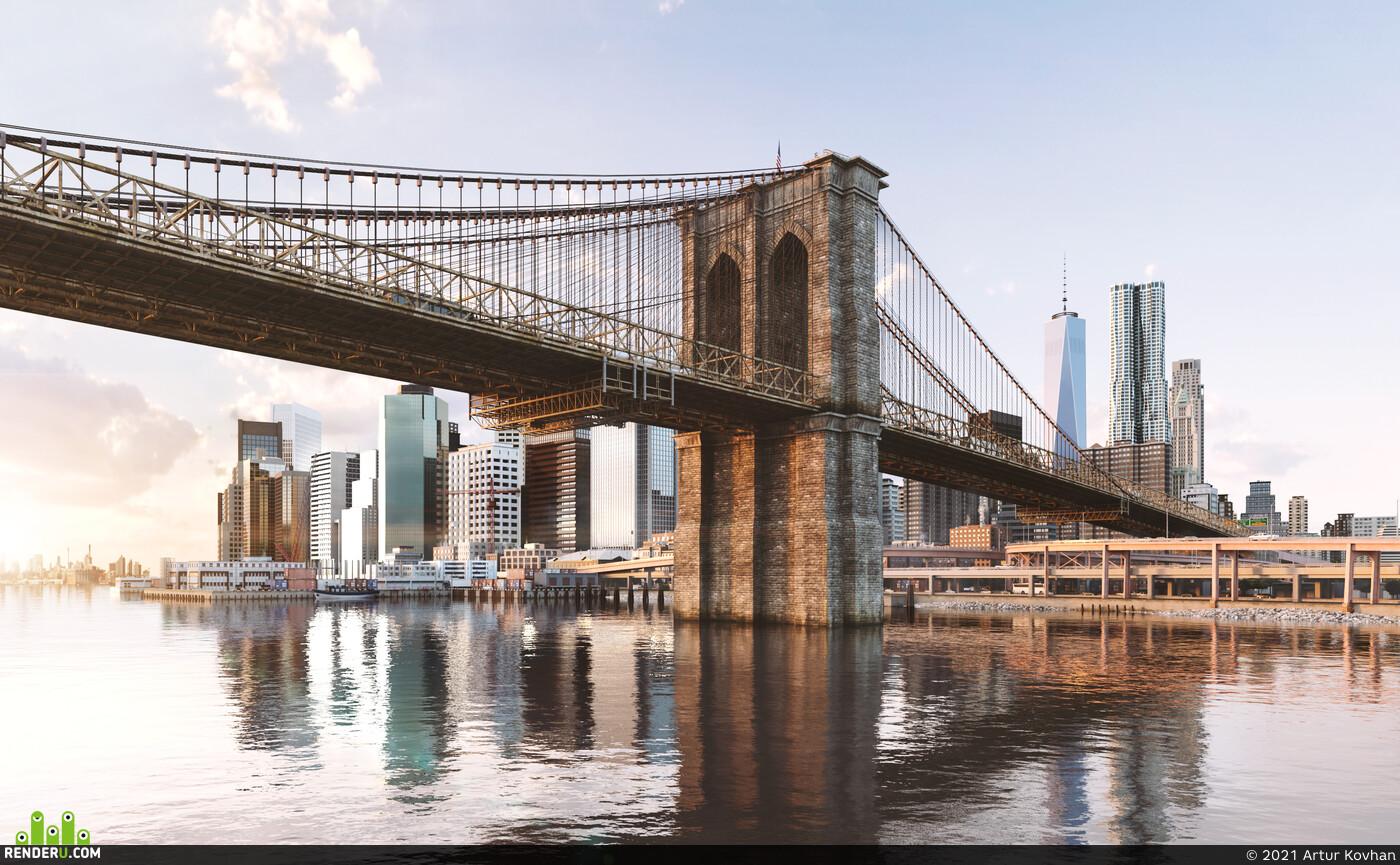 бруклин, нью йорк, Город, мост, Городской пейзаж, река, небоскребы, небоскрёб, визуализация небоскреба, закат