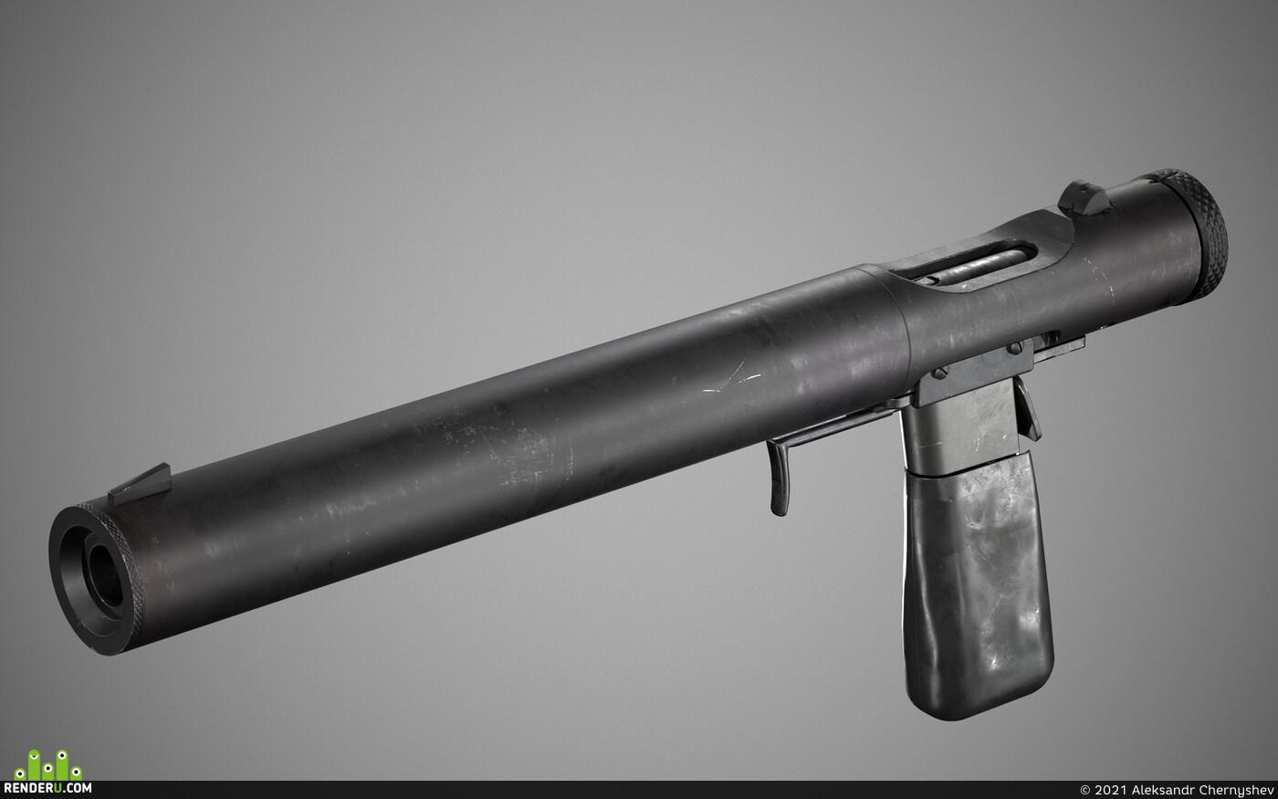 gun, weapon, lowpoly
