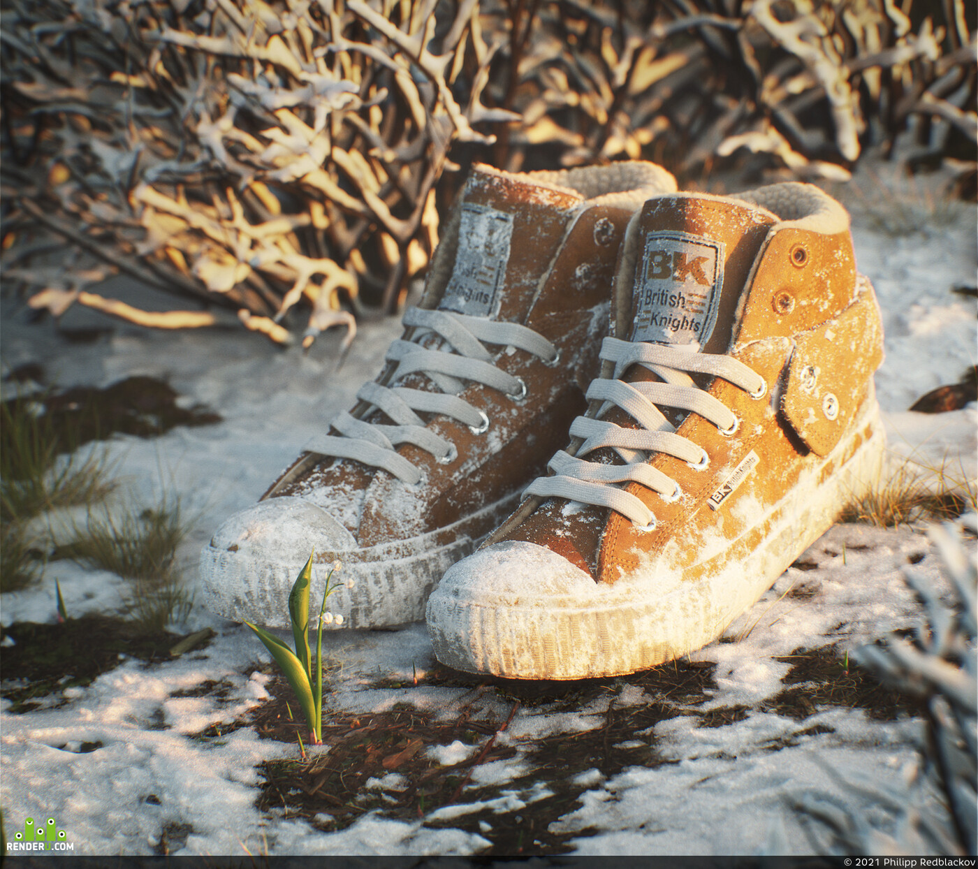 winter, spring, flower, Boots; Leather, snow, melting