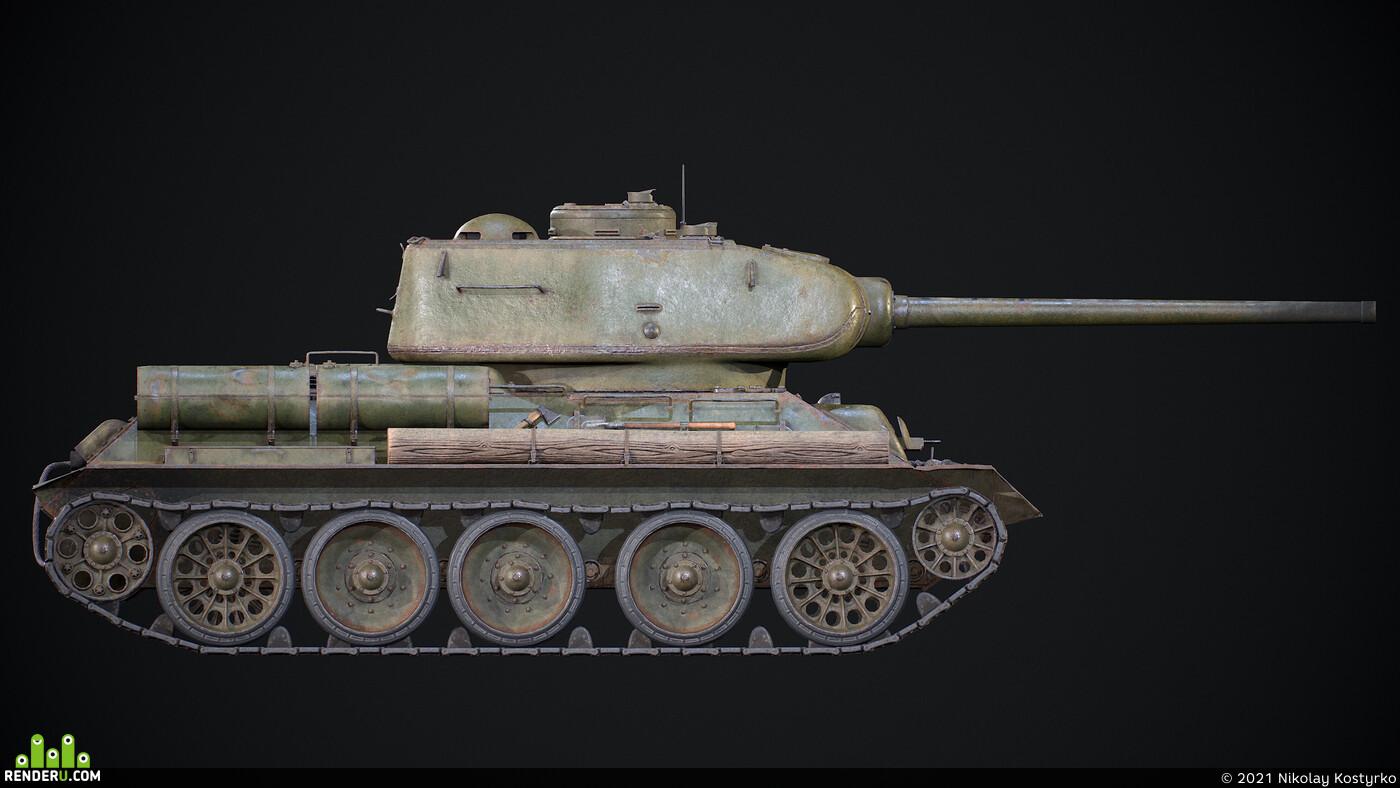 Техника, военная техника, бронетехника, Танки, PBR, танк т-34, танк т-34-85