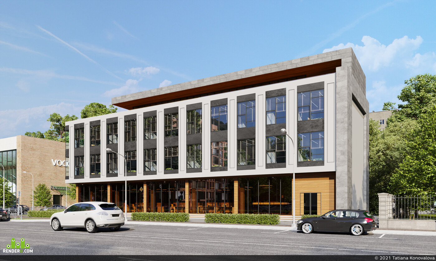 exteriorvisualization, cgiartist, render, archviz, coronarenderer, architecture, visualization, Office building, Crimea