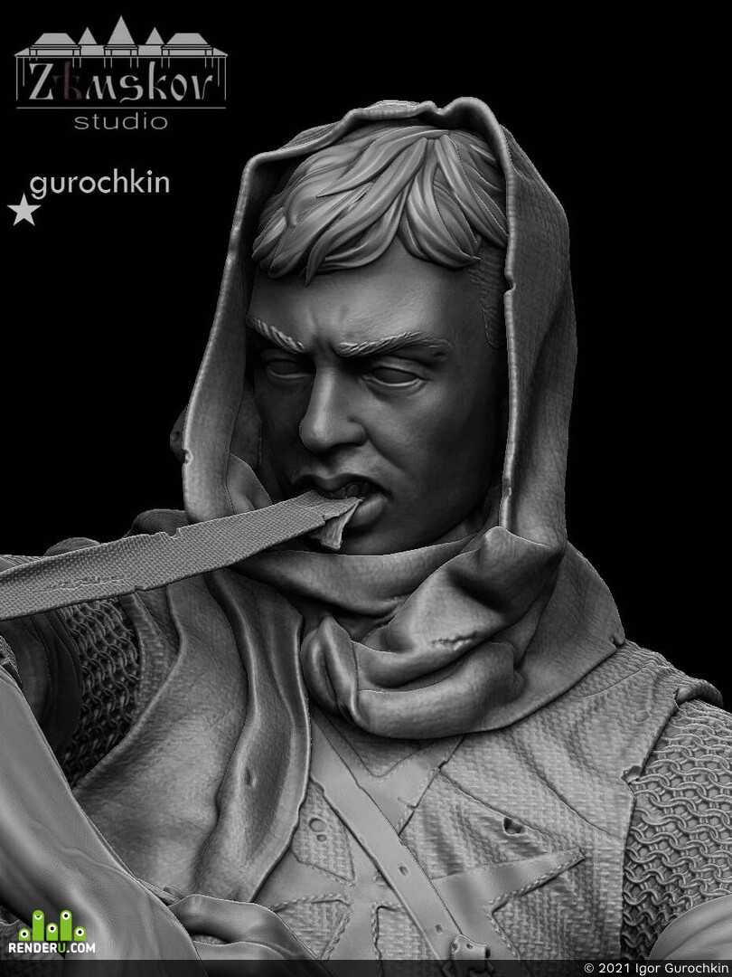 Zbrush, 3d print, bust, Character