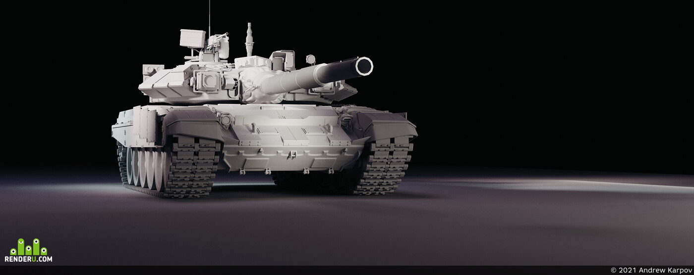 Танк, т90, low-poly