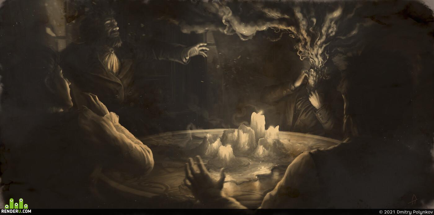2д арт, 2д иллюстрация, персонаж 2Д, 2дрисунок, ужасы, окружающая среда, ужастик, Концепт-арт, фотошоп
