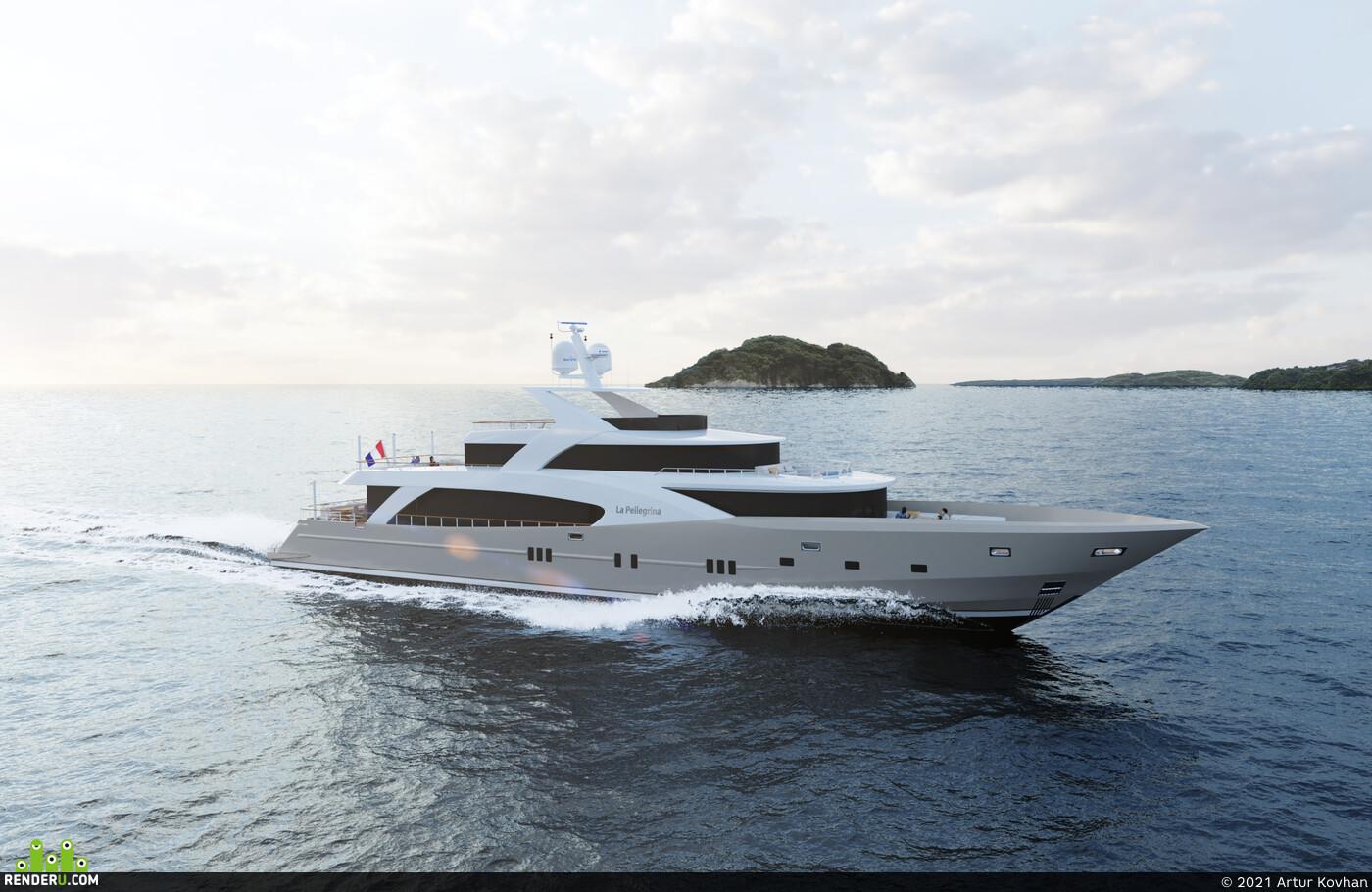 Yacht, PhoenixFD, Water Simulation, яхта, Симуляция воды