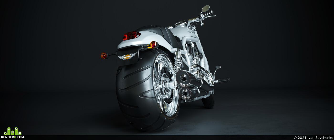 Harley-Davidson V-Rod, 3ds Max, Corona Renderer, Adobe Photoshop, modeling, high poly