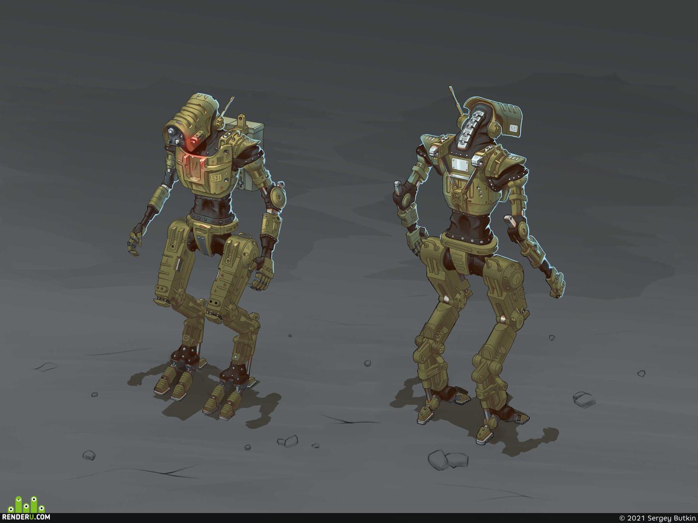 digital 2D, Concept Art, Mecha, character design