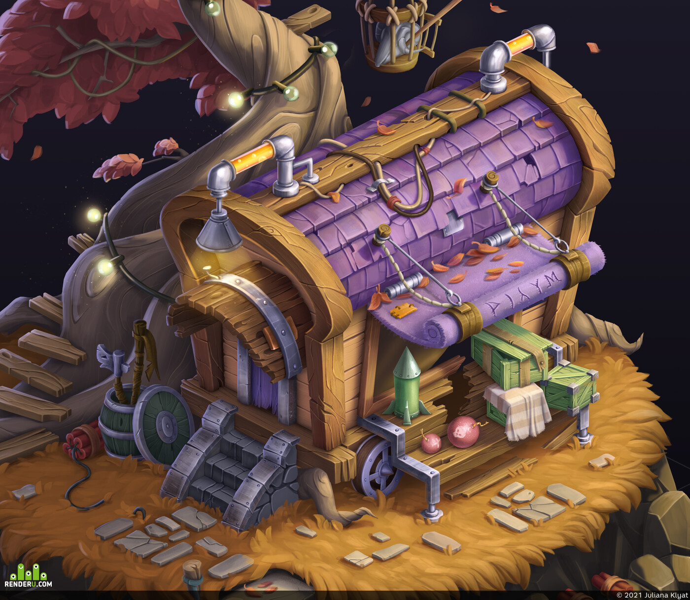 goblins, wagon, isometric, War, dynamite, box, cell, Fantasy, bomb