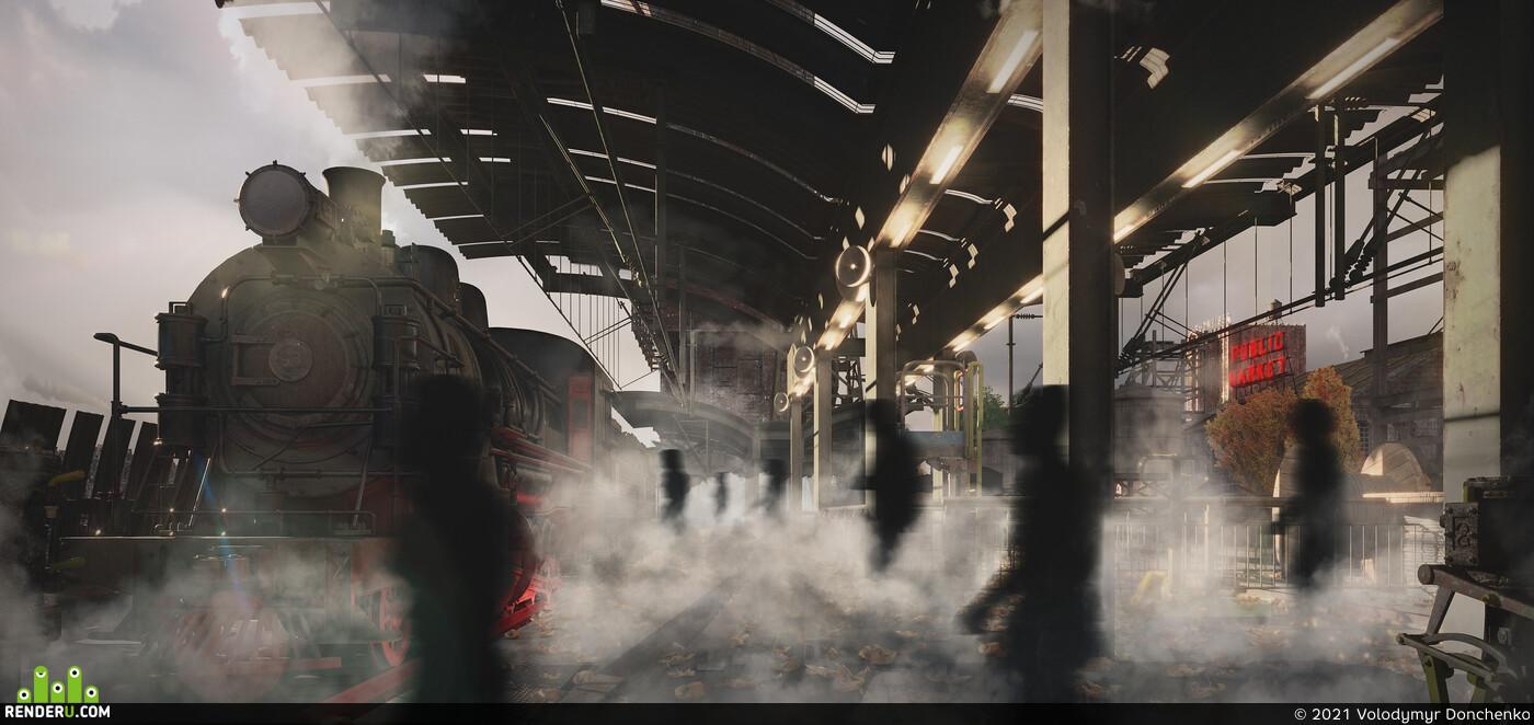 artdeco, ConceptArt, Environments, illustration, steampunk, Town, city, Industrial, architecture, kitbash