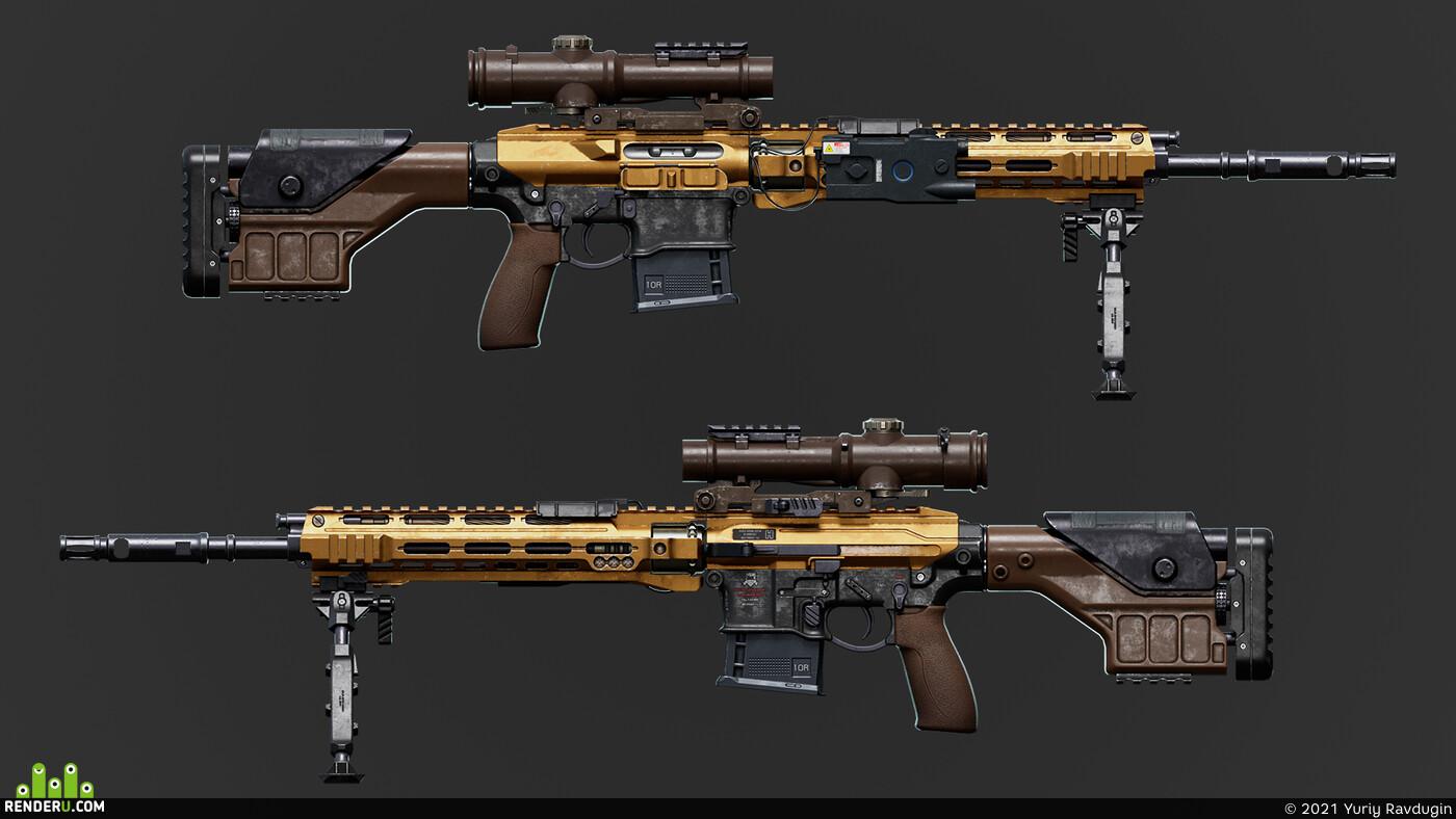 оружие, снайперская винтовка, Weapons, Sniper rifle, real time render