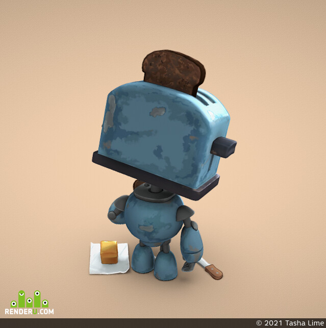 handpainted, Robots, toster, stylized model, Characters, characterart, characterdesign, cartoon character, stylized character