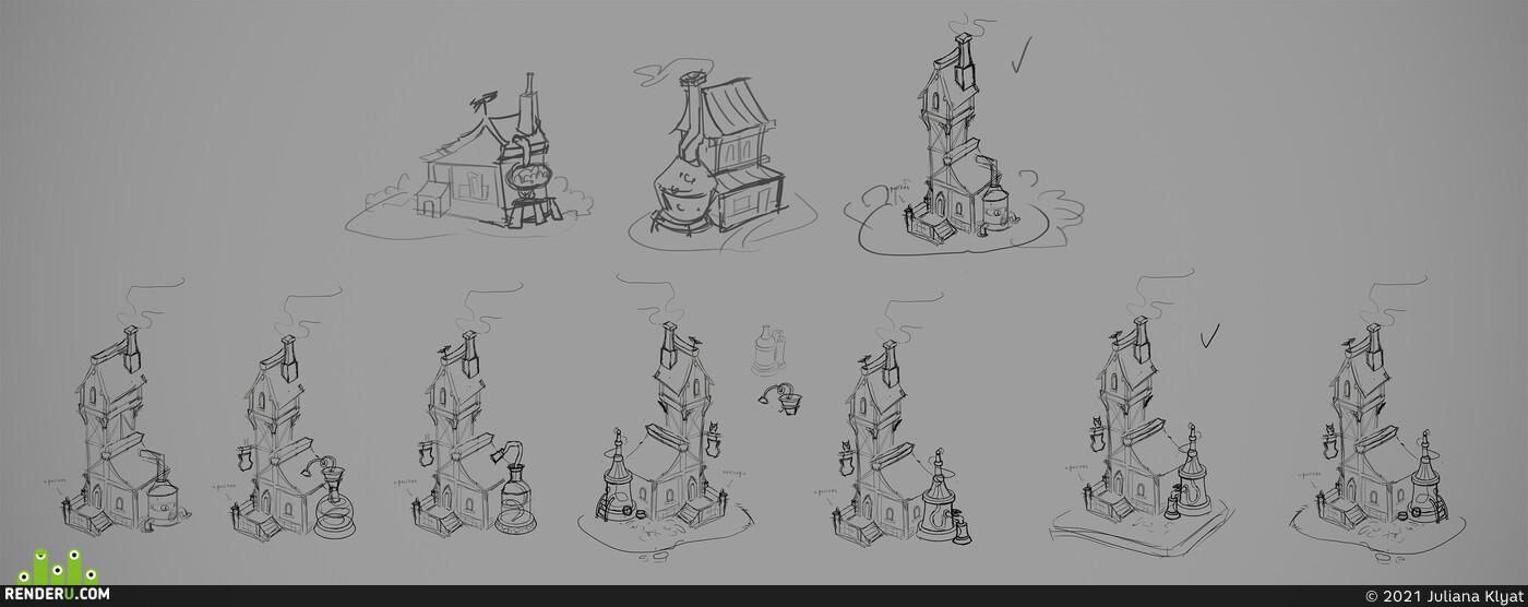 alchemist, Isometry, laboratory, potion, magic, wood, house, tavern