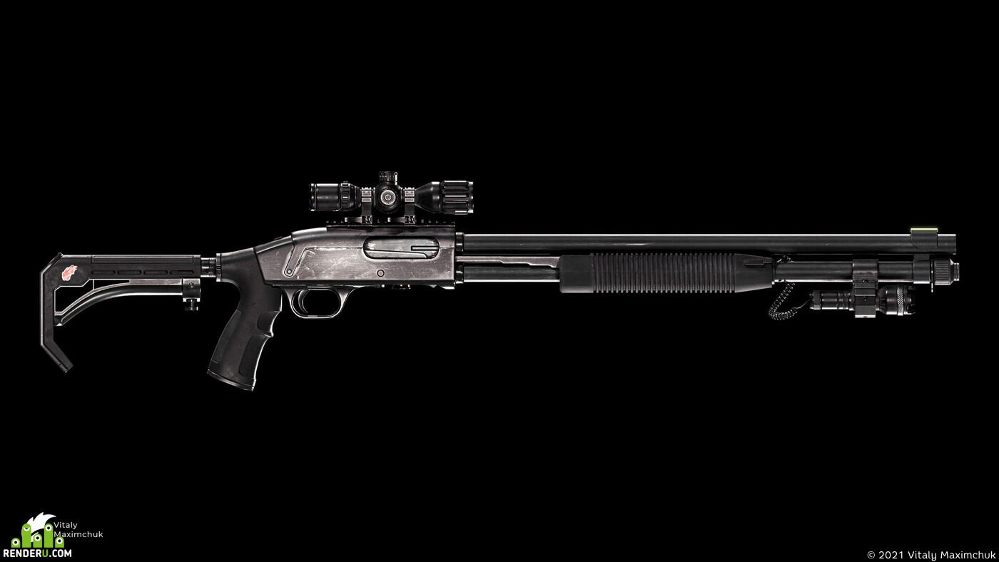 mossberg, shotgun, weapon, art, gun, military