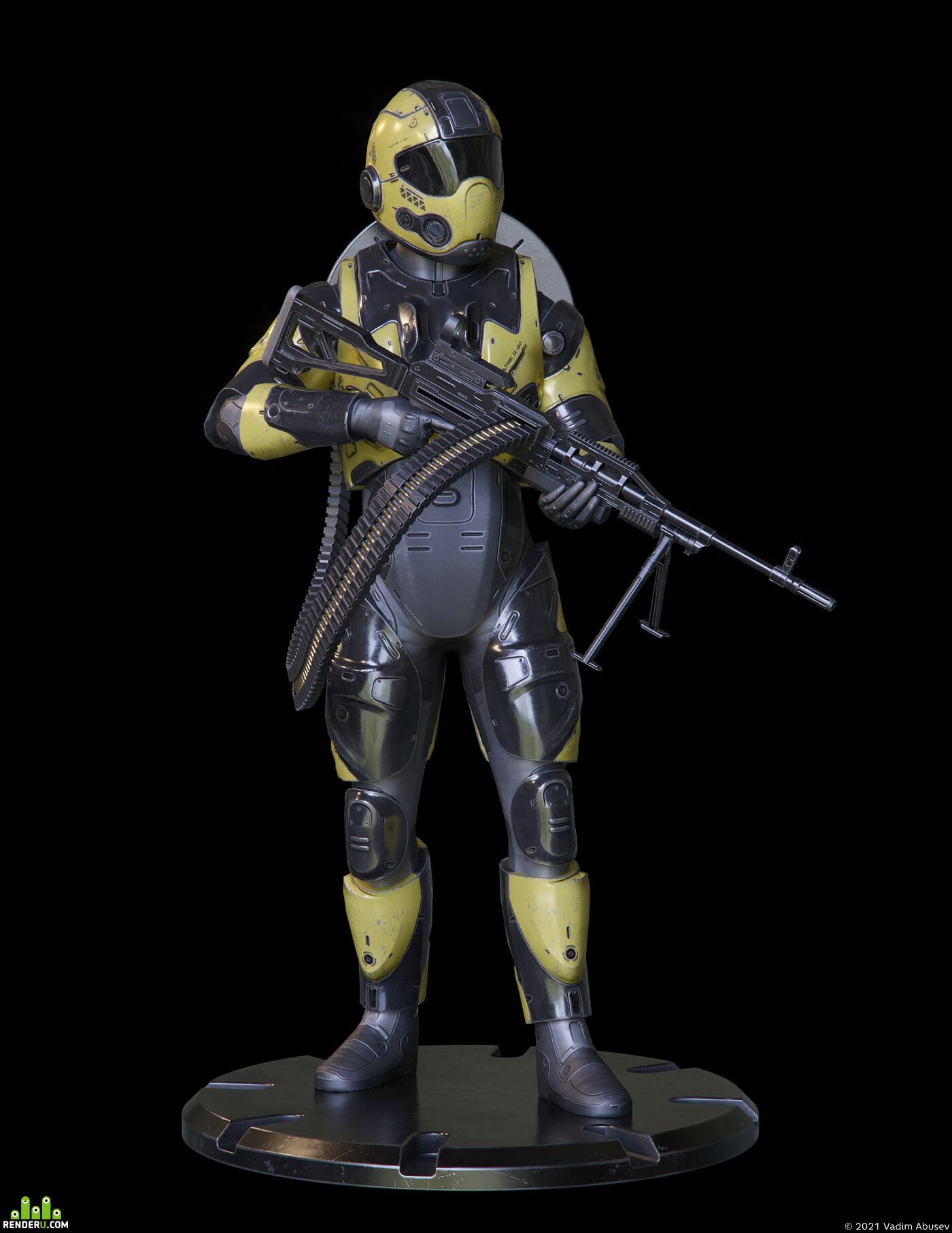 защита, броня, солдат, оружие, пулемет, ратник