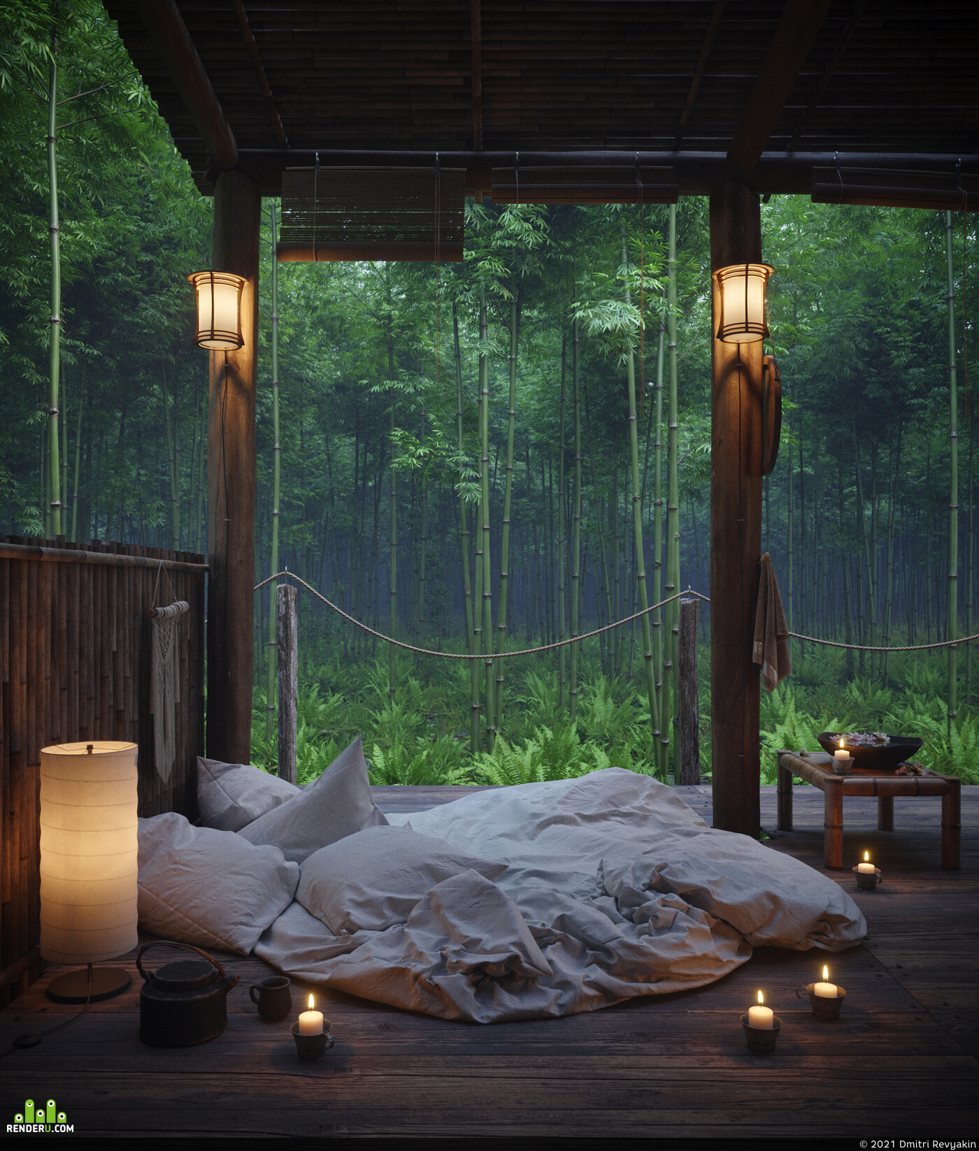 bamboo, house in the forest, Forest location, forest spirit