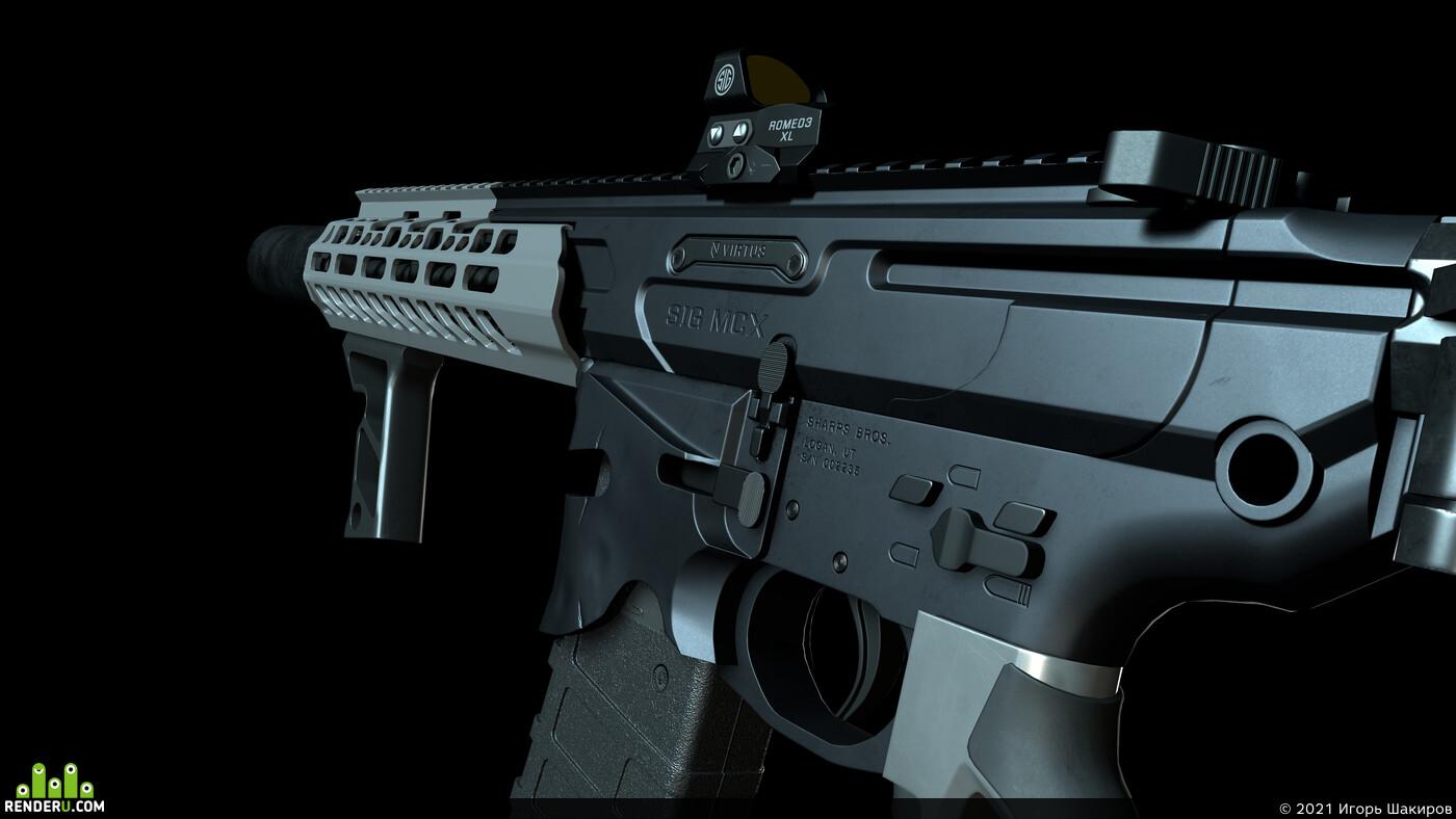Digital 3D, rifle, military, Game Art, substance painter, Sig Sauer, blender, gun, marmoset toolbag, Weapons