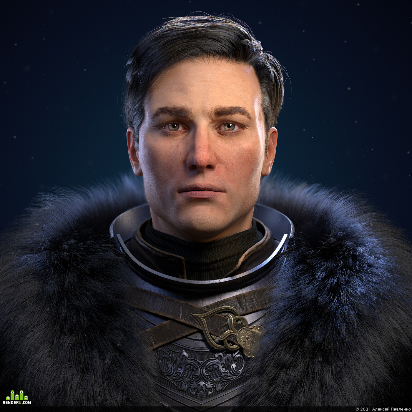 realism, knight, warrior, medieval, male, fur texturing,