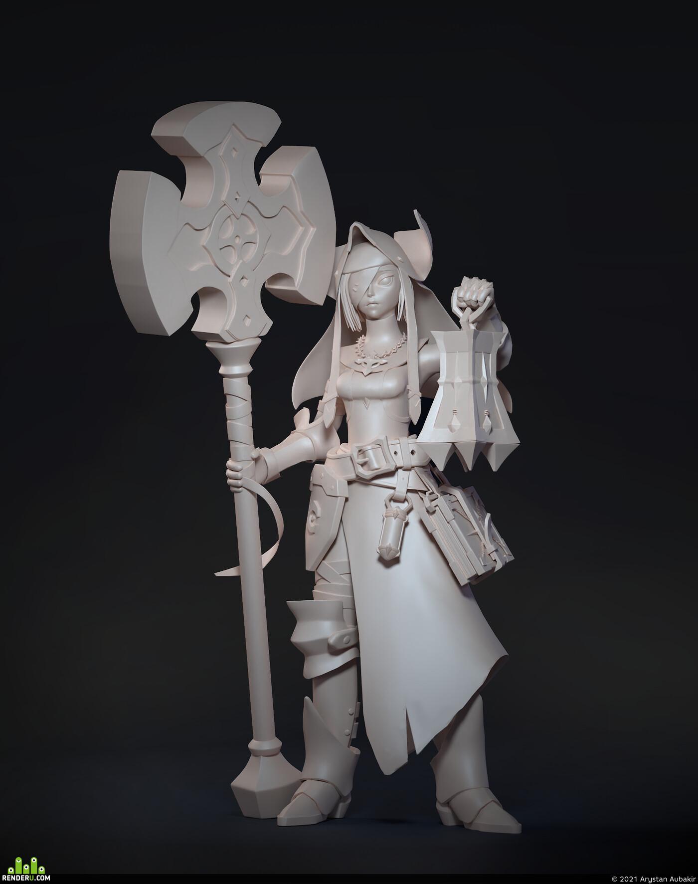 Digital 3D, Concept Art, stylized, Character Modeling, exorsict, hammer
