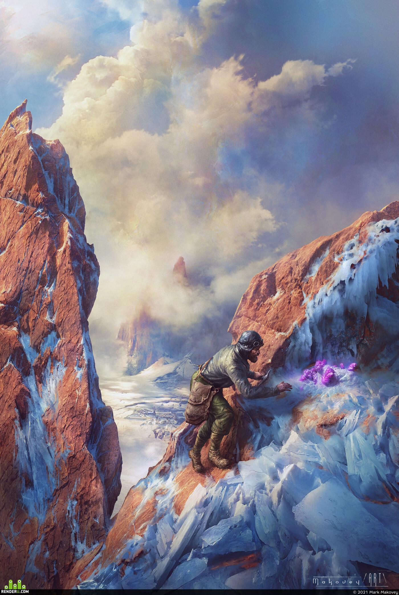 mountains, the rock, illustration