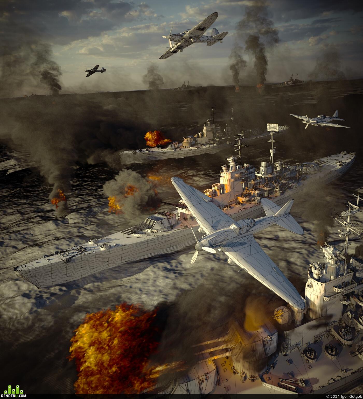 Вторая мировая война, морской бой, сражение, военный корабль, море, бомбардировщик, самолет, ссср, день победы