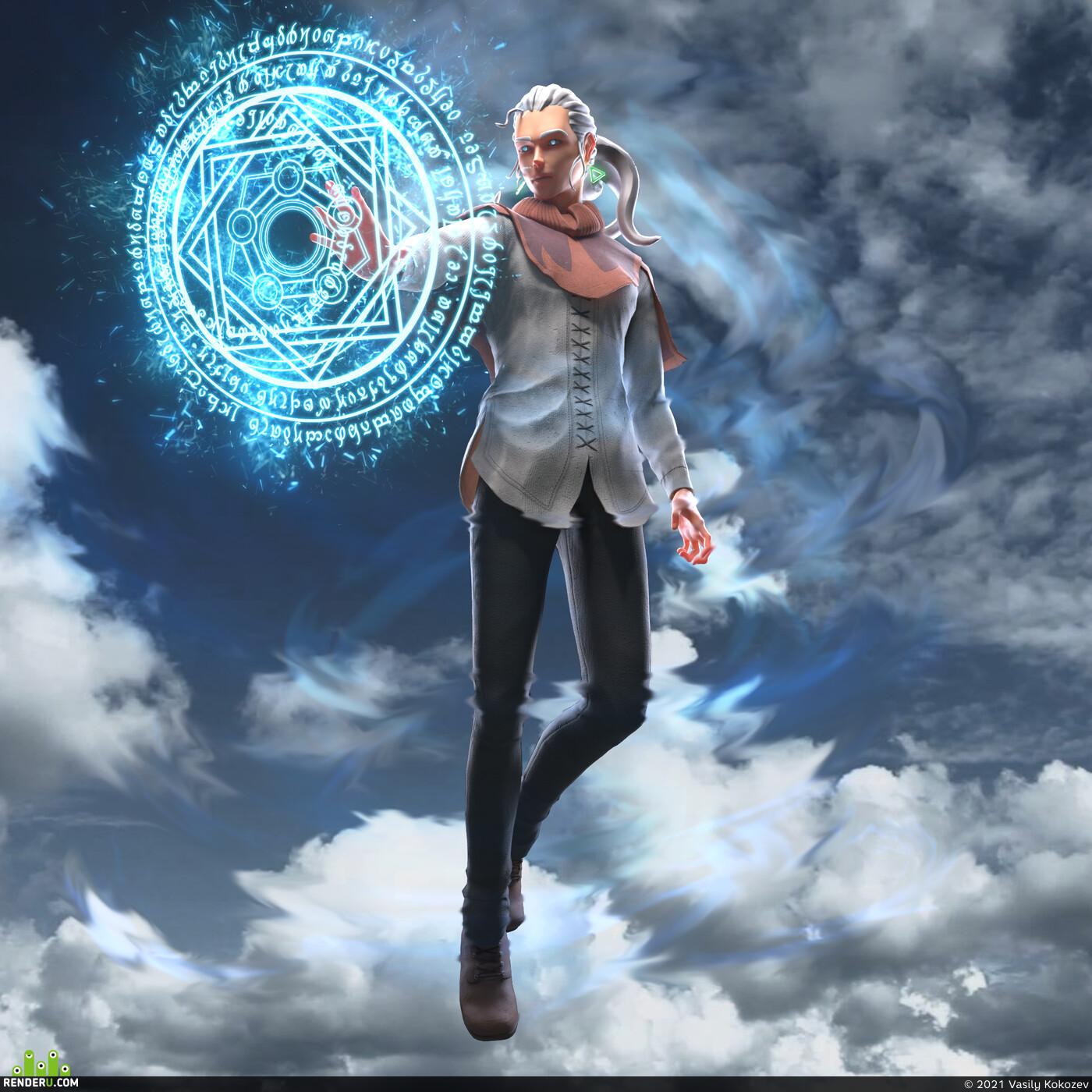 anime, magic, manga, 3d, stylize, teenager