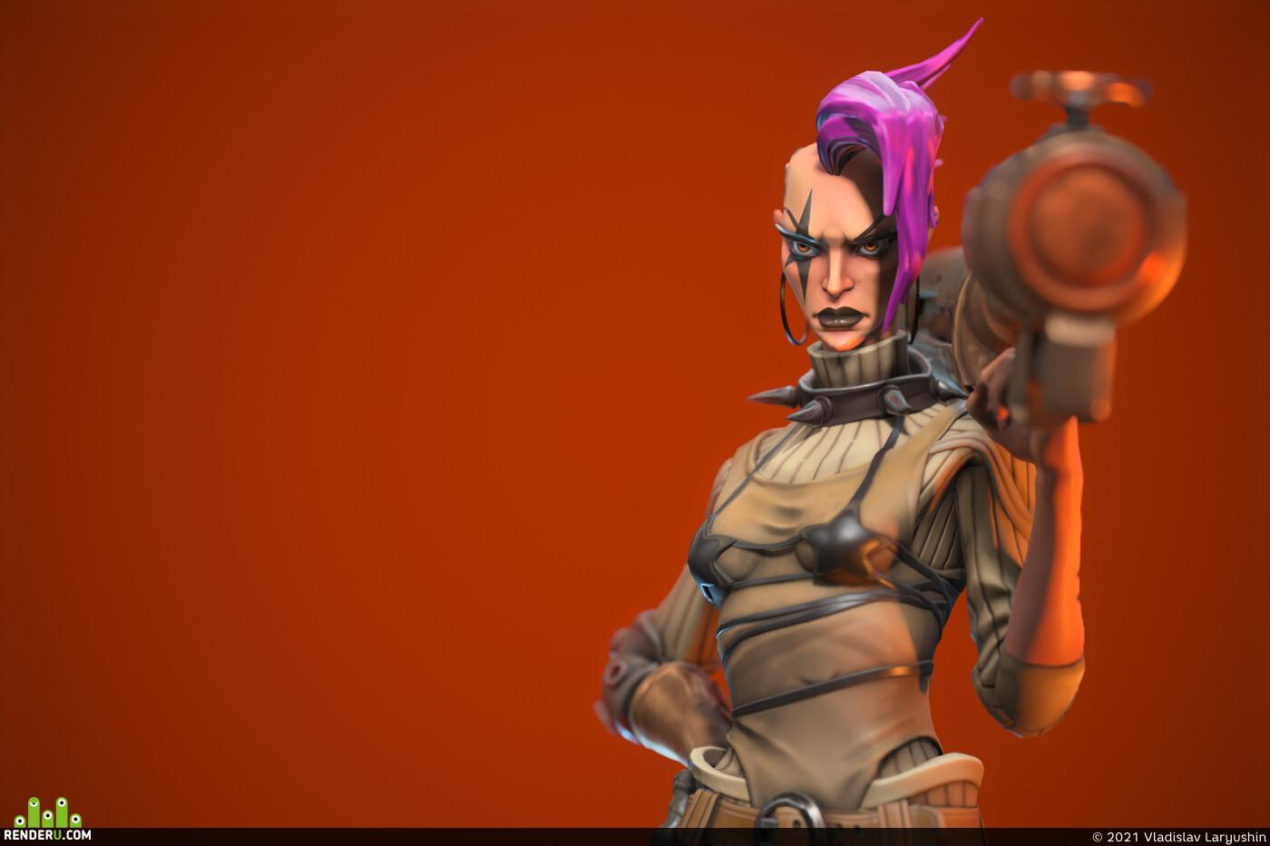 3D models, stylized girl, woman, sand, Characters, dune, CG Challenge
