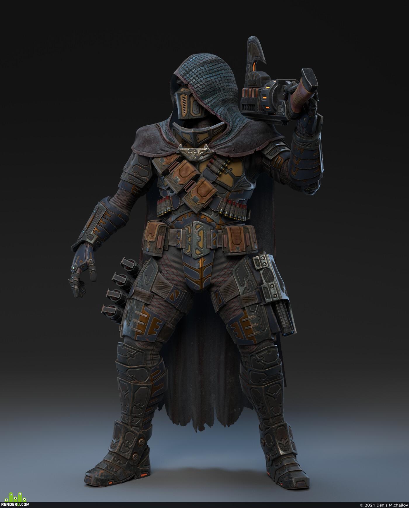 sci fi shotgun, shotgun, armor, sci fi armor, plate armor, weapon, soldier, fighter, shield, energy