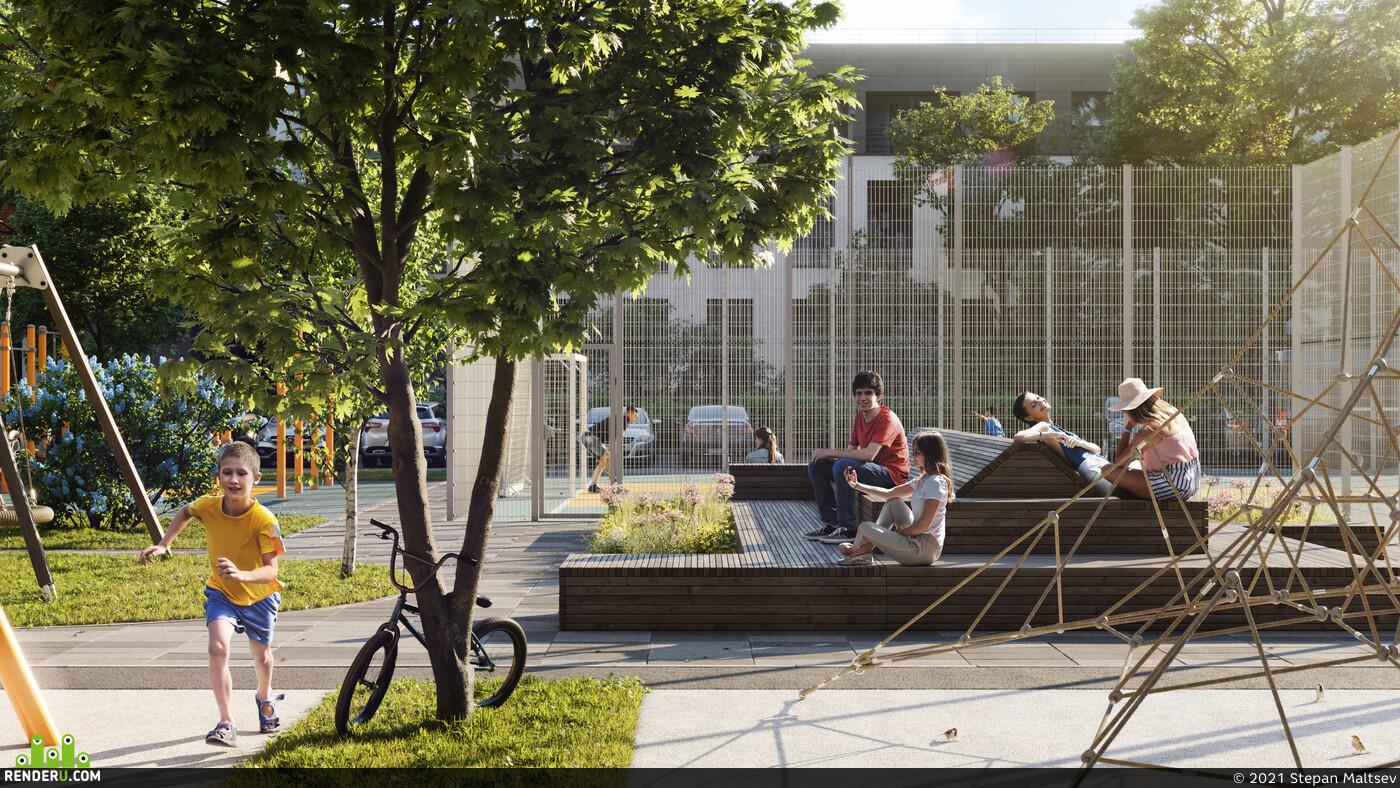 Exterior, courtyard, Playground, sand, Pergola, Children, morning, sunset, sun, Workout