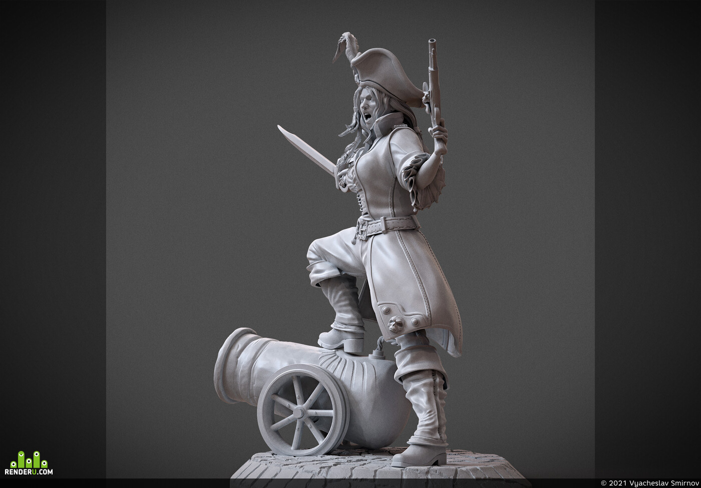 3dprint, modelfor3dprint, miniatures, atlas3dss, pirate, pirategirl, pirates, gun