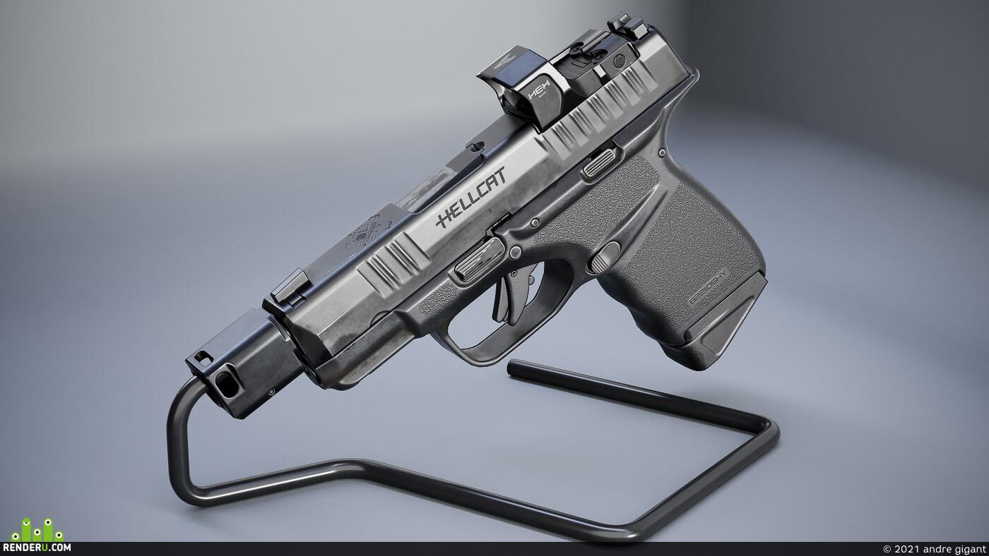 Digital 3D, Real-time, weapons, Hard Surface, weapon, handgun, pistol, Game Art, gun