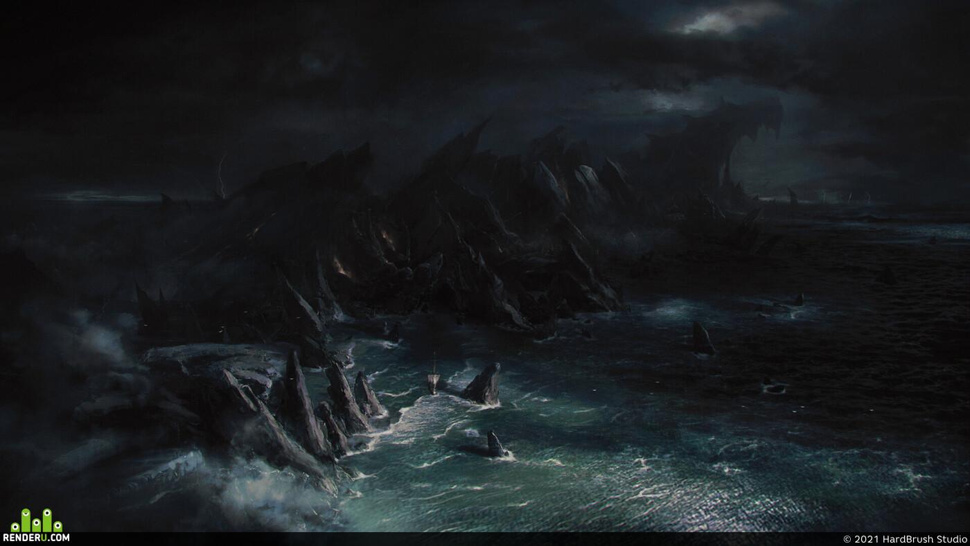 2d, art, ship, storm