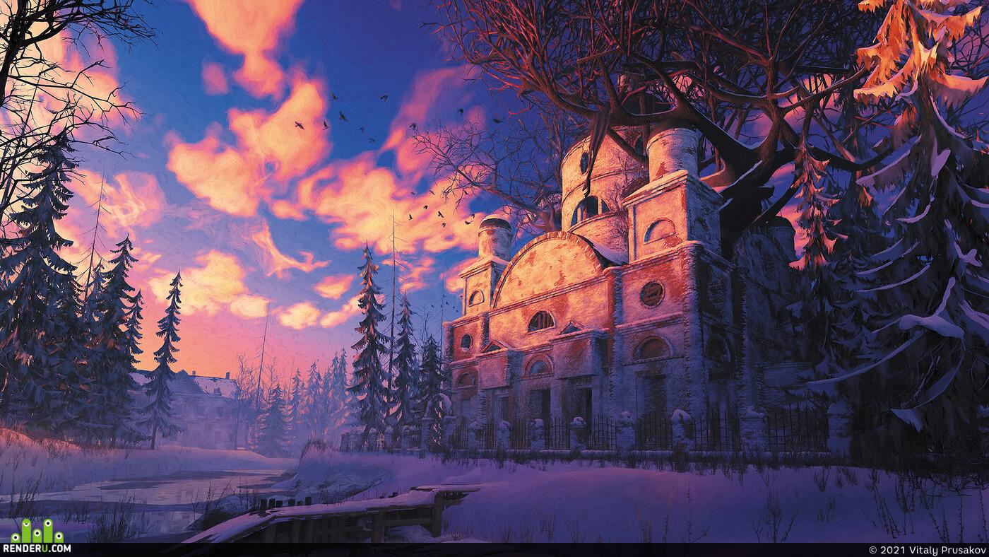 зима, закат, снег, церковь, заброшка, река, старина, северное сияние, дерево, лес
