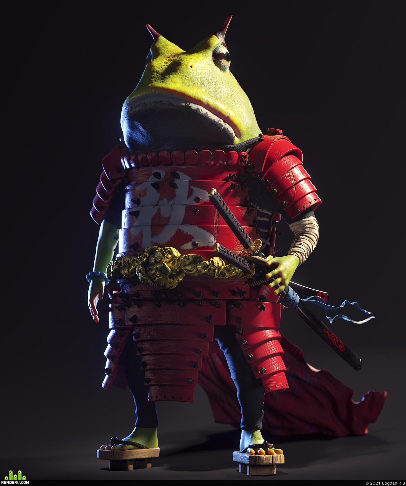 жаба, самурай, Катана, доспехи, персонаж