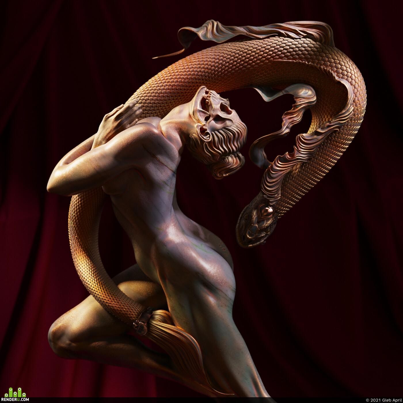 digital sculpture, 3d_sculpture, Sculpture Zbrush, zbrushsculpt, digital sculpt, 3d sculpt, 3dsculpting, anatomy female, female, head study