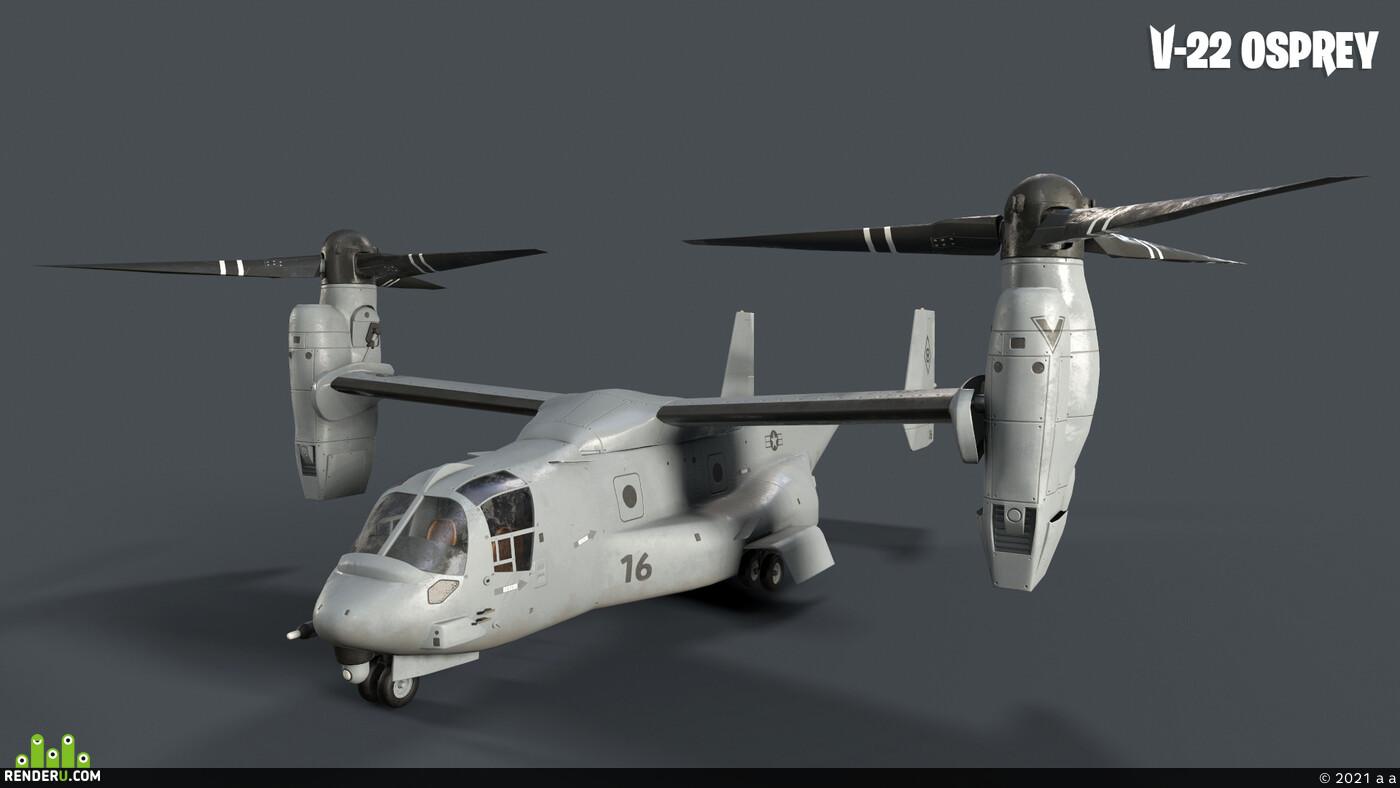 вертолет, 3d, Hard Surface, Техника, Самолёты, lowpoly, Game-ready, Transport & Vehicles, Combat vehicles, транспорт