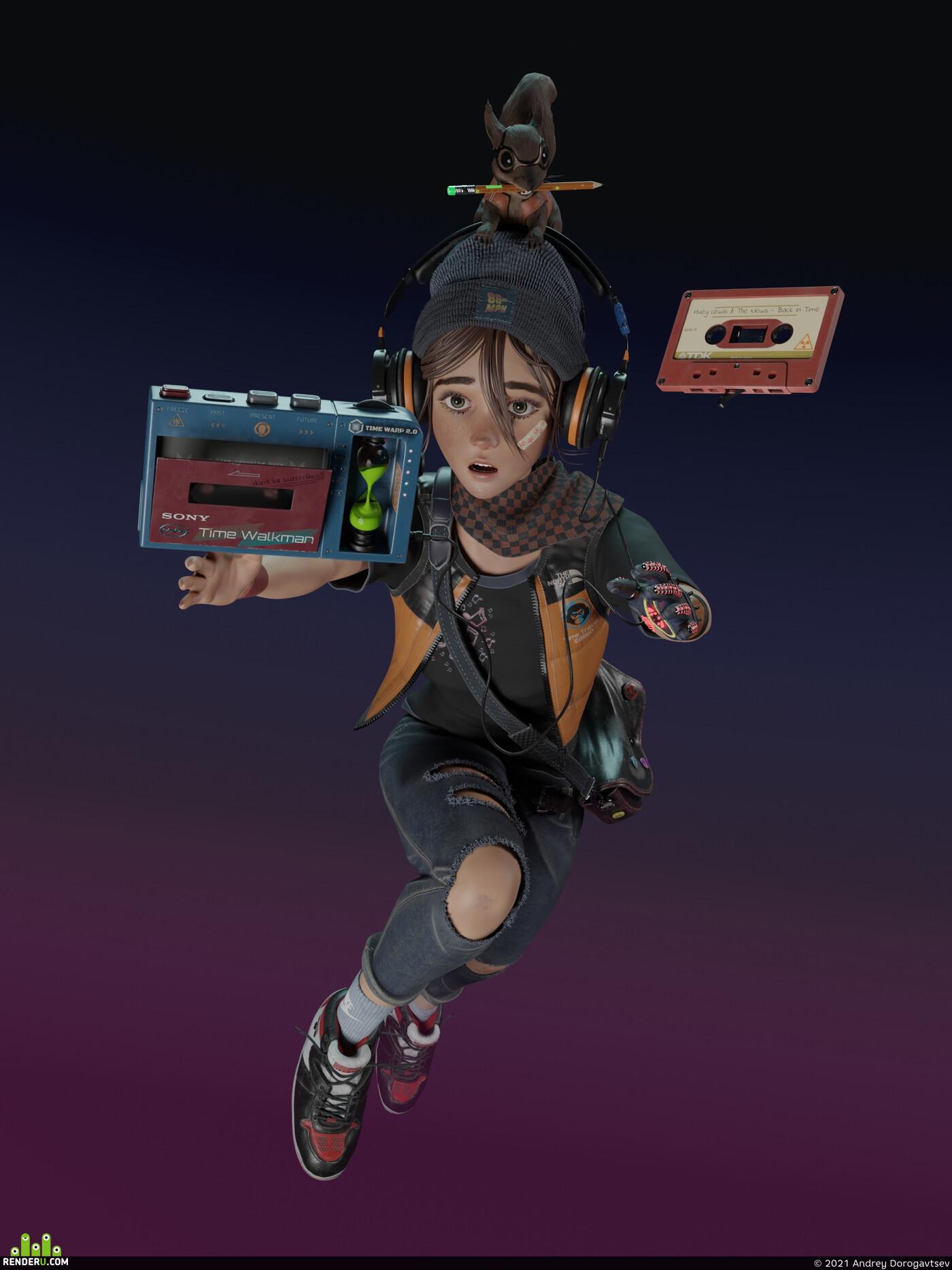девушка, девочка, белка, Персонажи, 3d персонажи, дизайн персонажа, концепт персонажа, плеер, карандаш, одежда