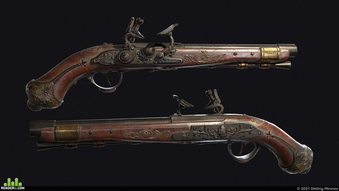 weapon, pistols, 3d model of a pistol, 6inch gun, 3ds max