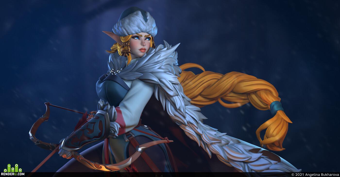 3darts, elf, elfgirl, Fantasy, 3dcharacterdesign, 3dcharactermodeling, 3dcharacter, Stylized, Winter evening, snowball
