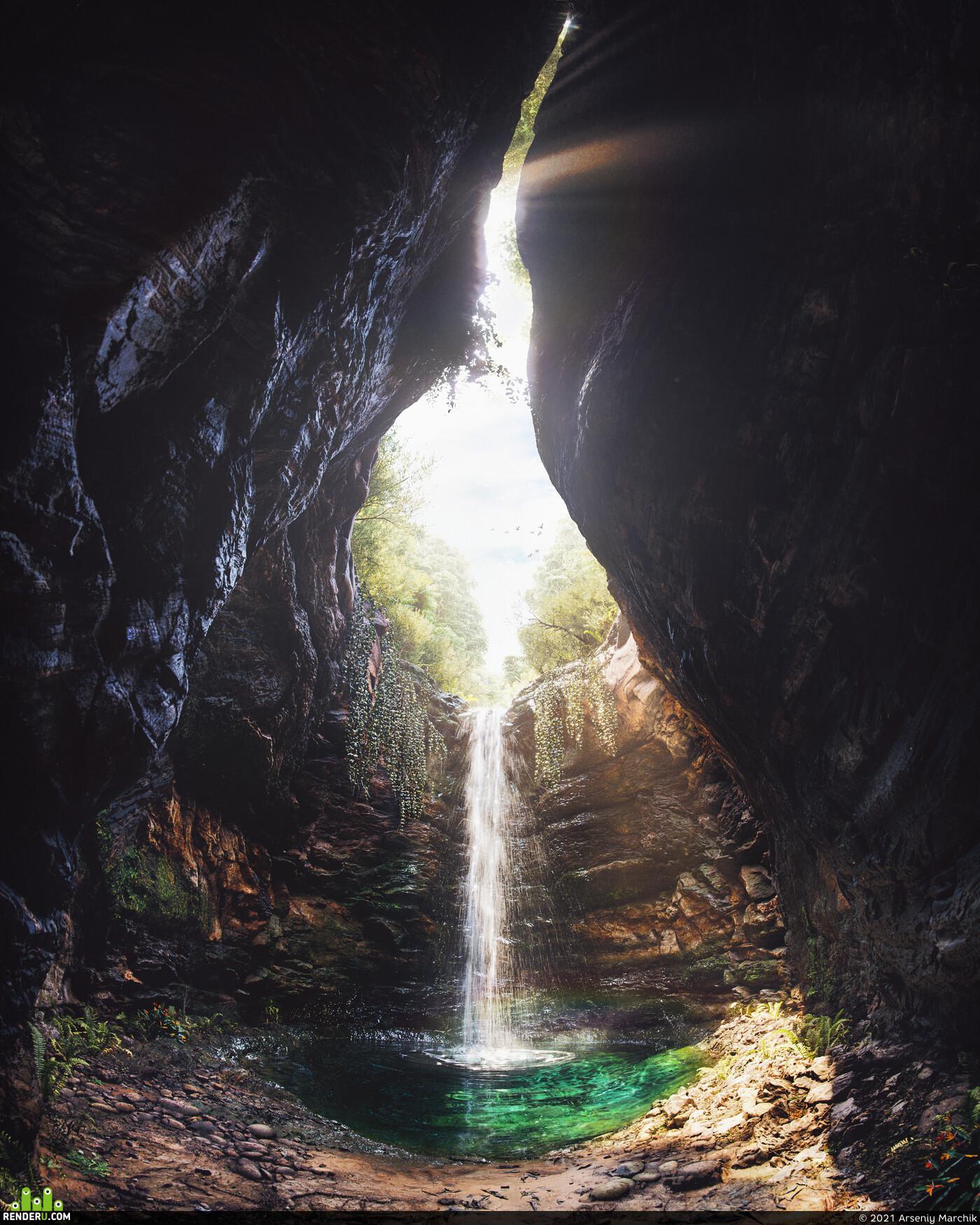 Exterior, waterfall, Nature, lake, cave